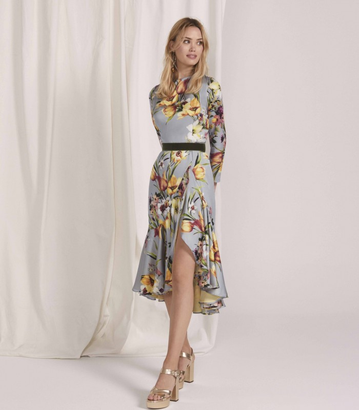 Printed midi dress with low sleeve and bolero skirt with central slit
