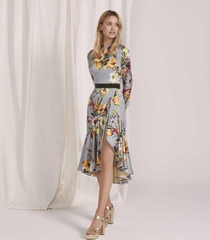 Vestido midi estampado con manga baja y falda bolero con abertura central