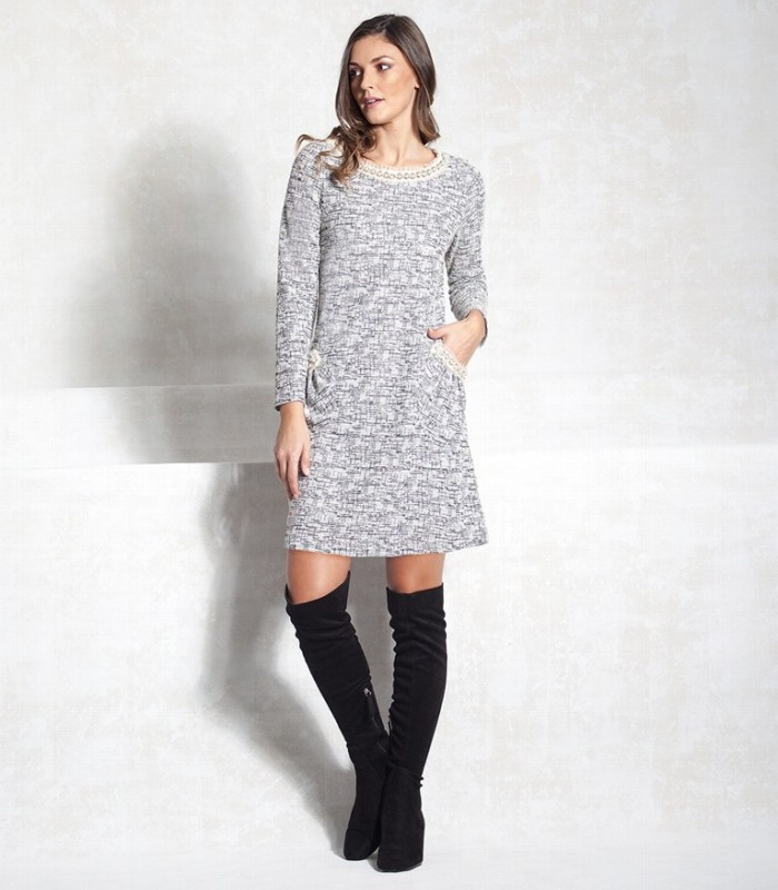 Chanel A-line dress with pockets and long sleeves