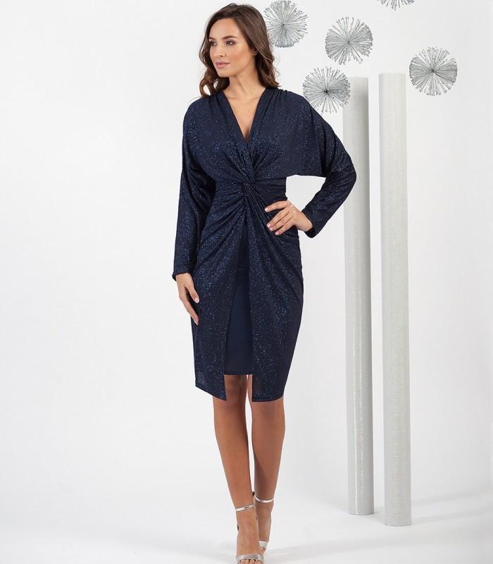 Midi Lurex dress interlaced at waist