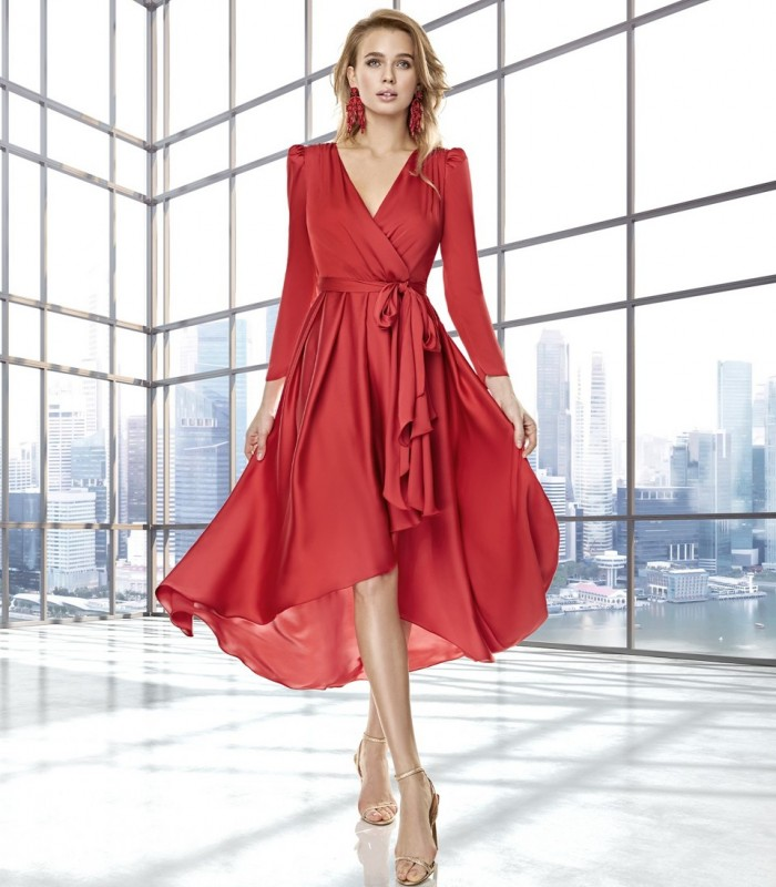 Asymmetric short dress with crossover neckline and gigot sleeves