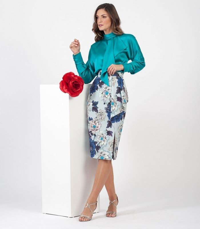 Printed Midi Skirt with Side Slit