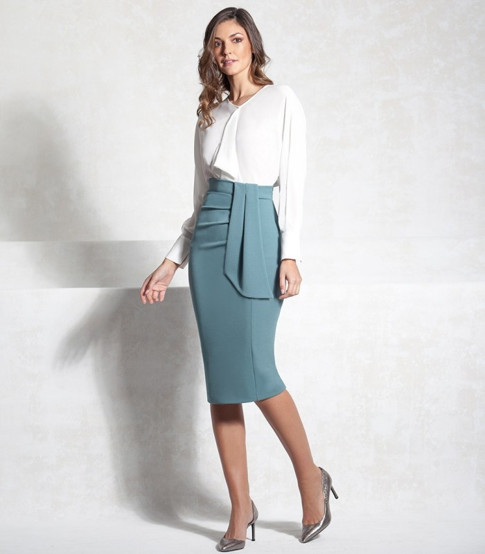 Midi skirt with dropped lapel