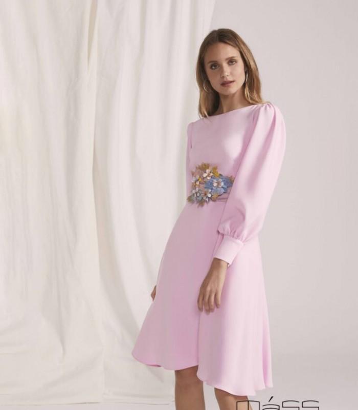 Midi dress with low puff sleeve and bolero skirt
