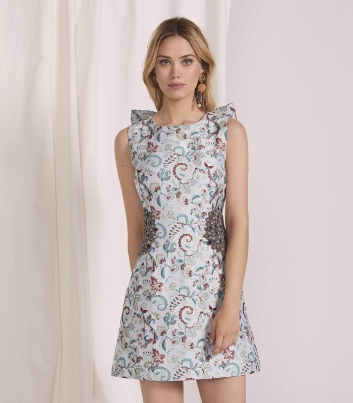 Vestido corto bordado con aplique floral y lazo a la espalda