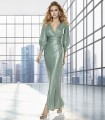 Long ruched wrap dress with gigot sleeves