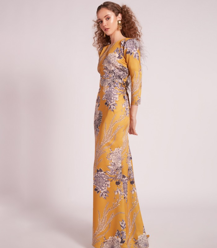 Printed boat neckline long dress with open back