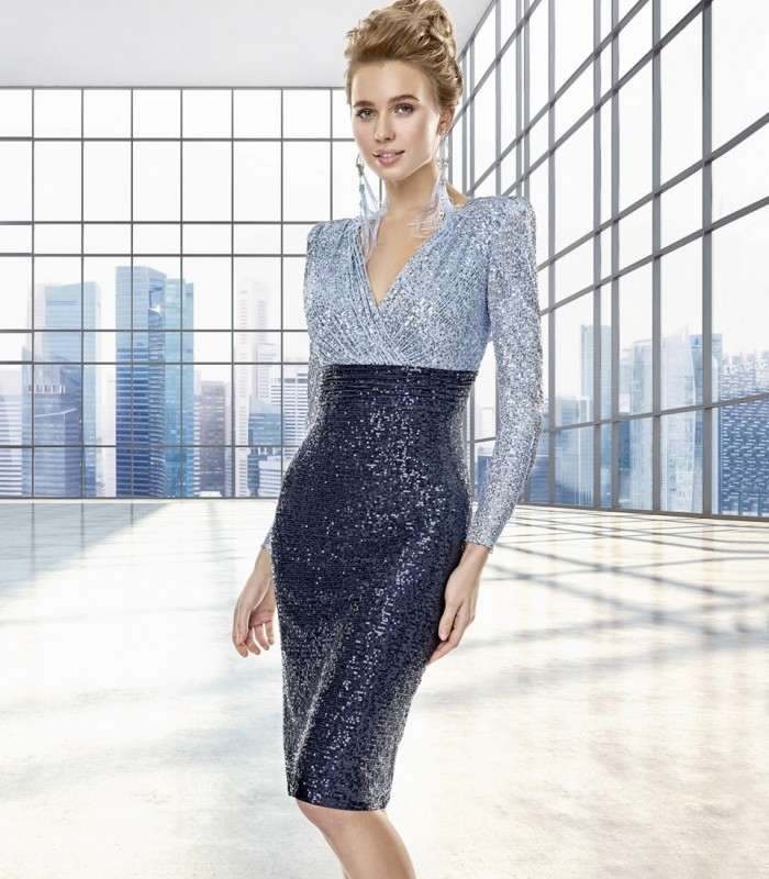 Short sequin dress with crossover neckline