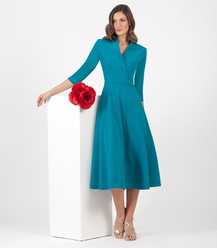 Plain Midi dress with crossover neckline