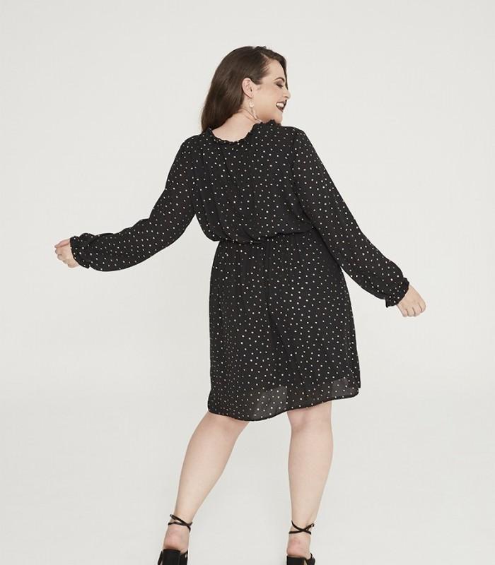 Vestido corto negro estampado de topos con brillo
