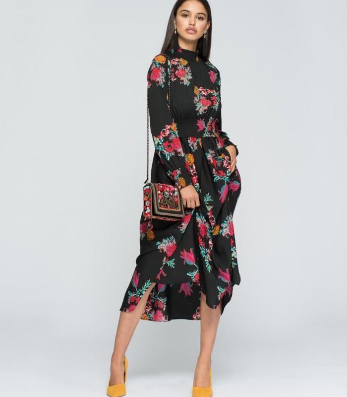 High neck printed midi dress