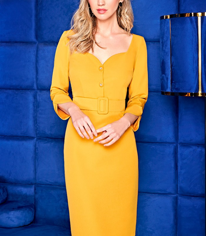 Mustard midi dress with buttons and French sleeves