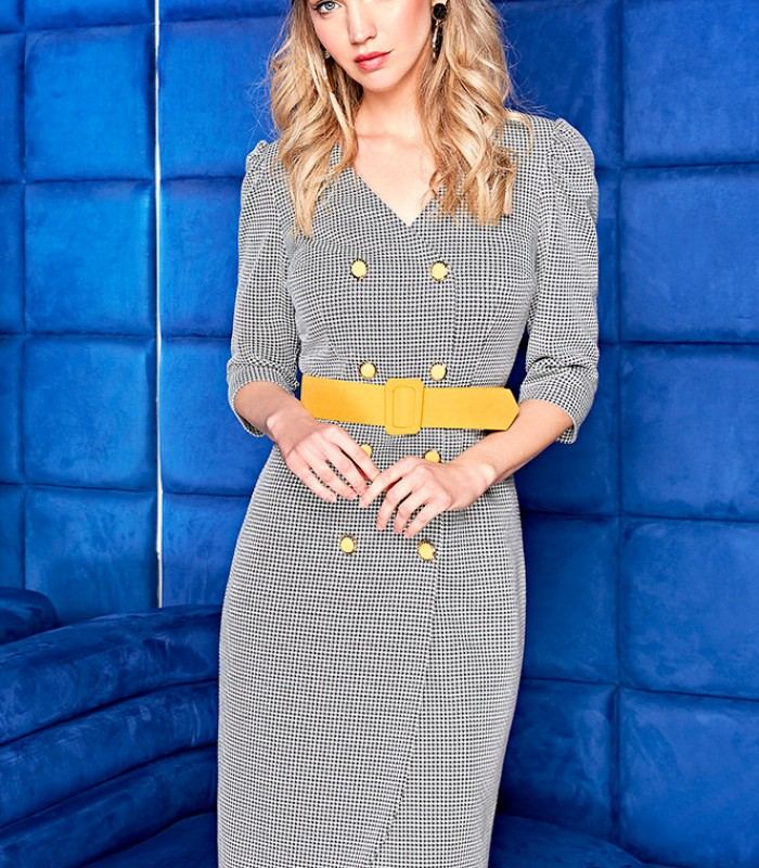 Button Front French Sleeve Midi Dress