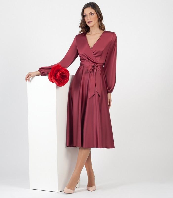 Satin Midi Dress with bow at the waist