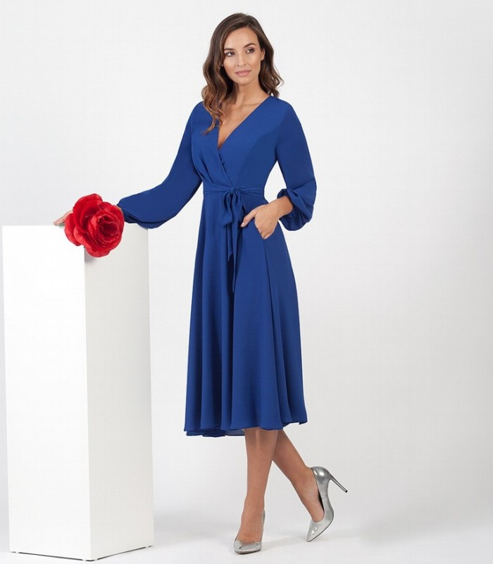 Chiffon Midi Dress with pockets and waist tie
