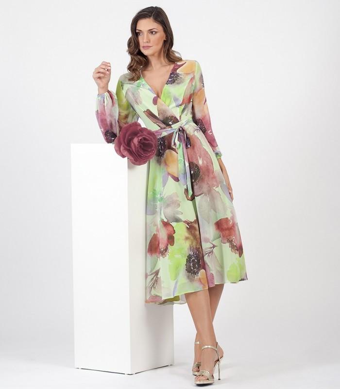 Printed Chiffon Midi Dress with long sleeves and tie at waist