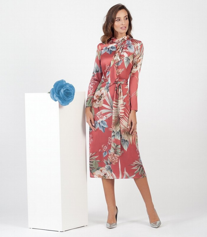Printed Satin Midi Dress with bow at neck and waist