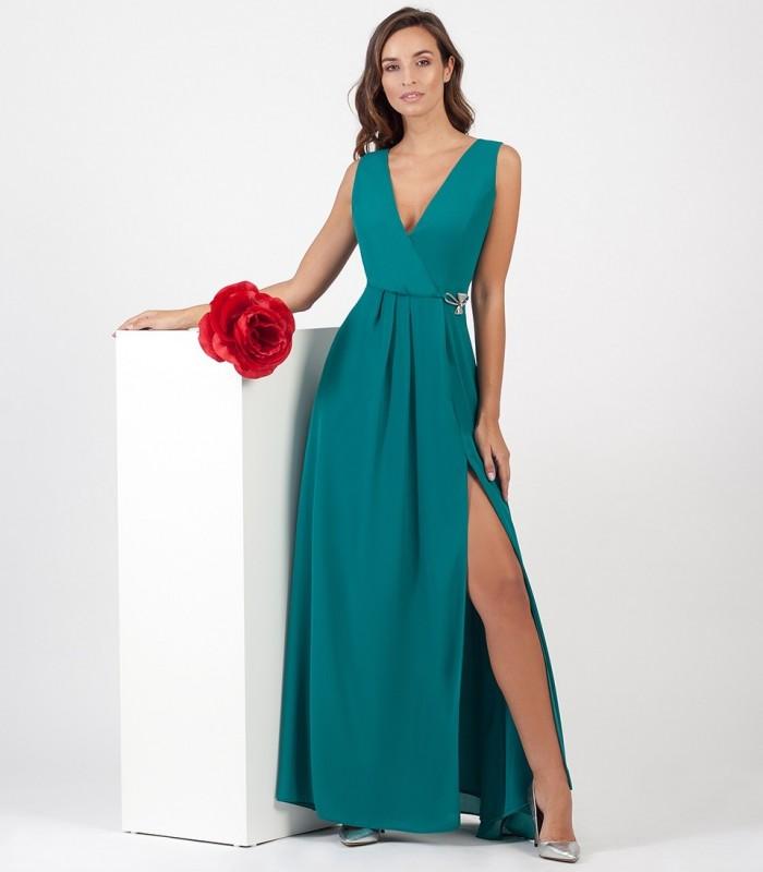 Vestido largo turquesa escote cruzado y detalle en la cintura