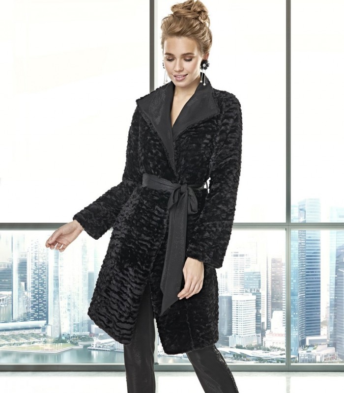 Long, reversible faux fur coat with bow