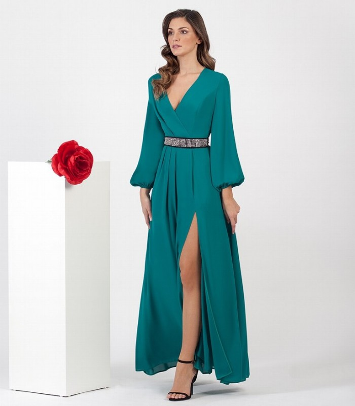 Plain long dress with crossover neckline and belt with diamonds