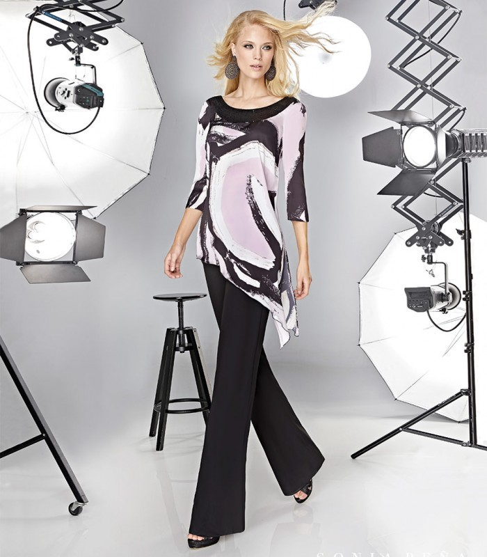 Sequined asymmetric blouse and pants set