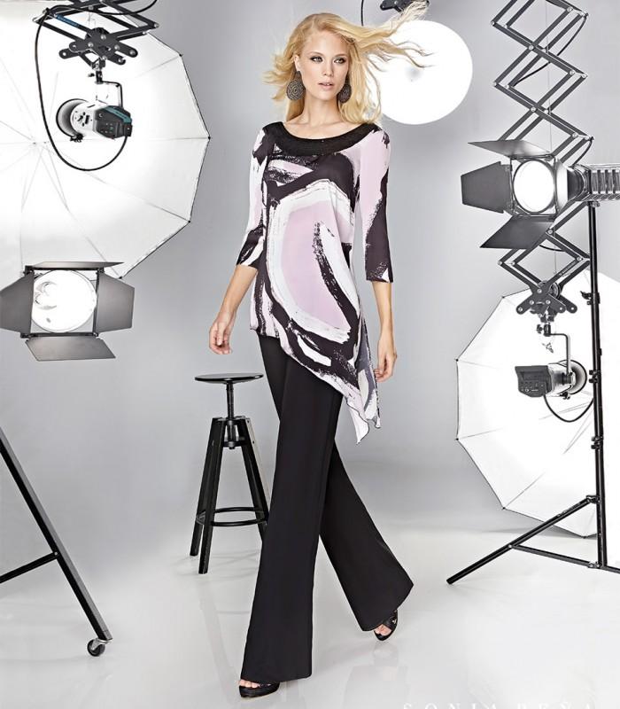 Conjunto de pantalón y blusa asimétrica con lentejuelas
