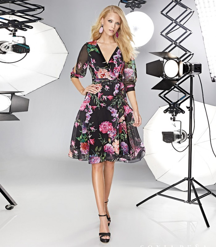 Short wrap dress with transparent sleeves and bow
