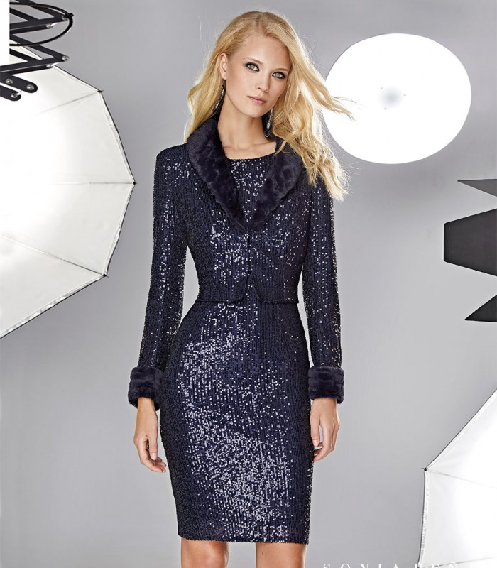 Sequin jacket with fur on the lapels and cuffs