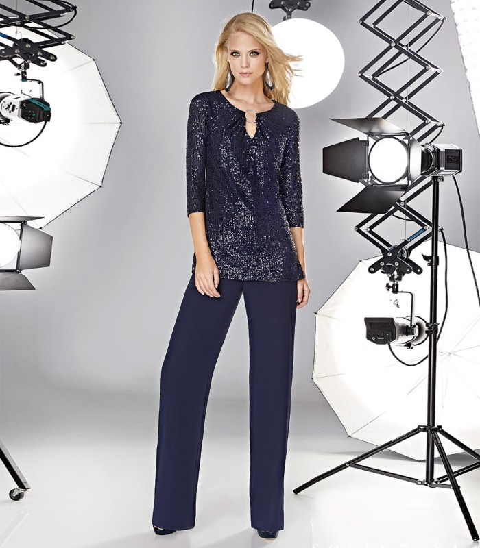 Sequin blouse and trousers set with buckle neckline