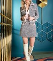 Gray jacket and skirt set with pink fringes