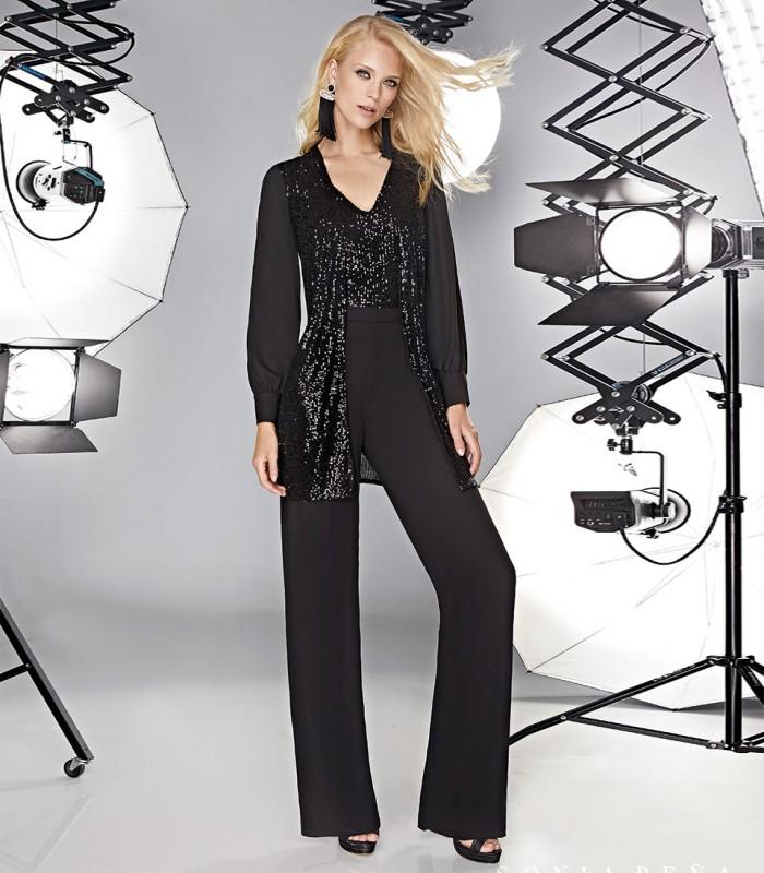 Set of pants, gigot sleeve top and sequin vest