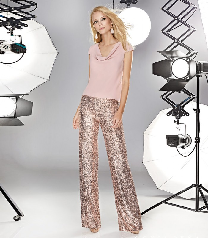 Long sequin flared trousers