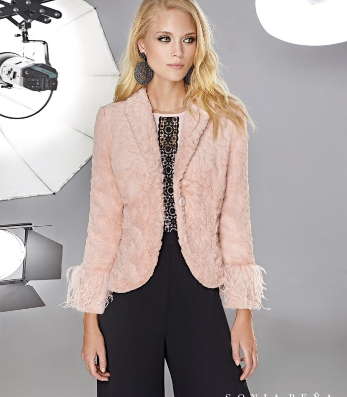 Jacket with fur and feathers on the sleeve cuffs