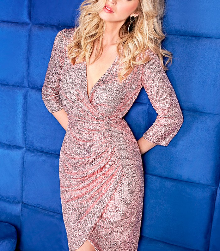 Short sequin dress with crossover neckline and central slit