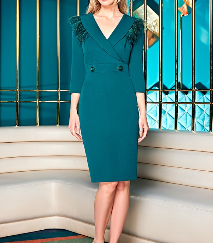 Wrap-around neckline dress with buttons and feathers on the shoulders