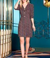 Printed short dress with V-neckline and buttons in the center