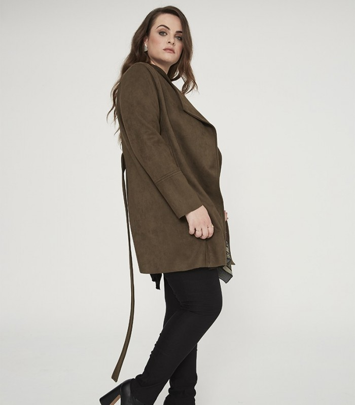 Long suede jacket with lapel collar