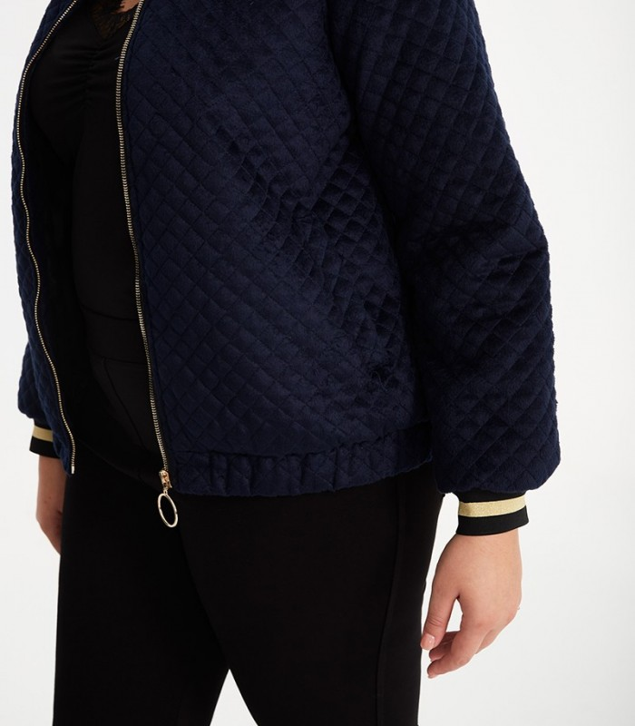 Padded bomber jacket with mandarin collar