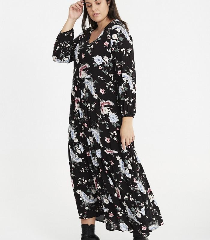 Long dress with bird print and V-neckline