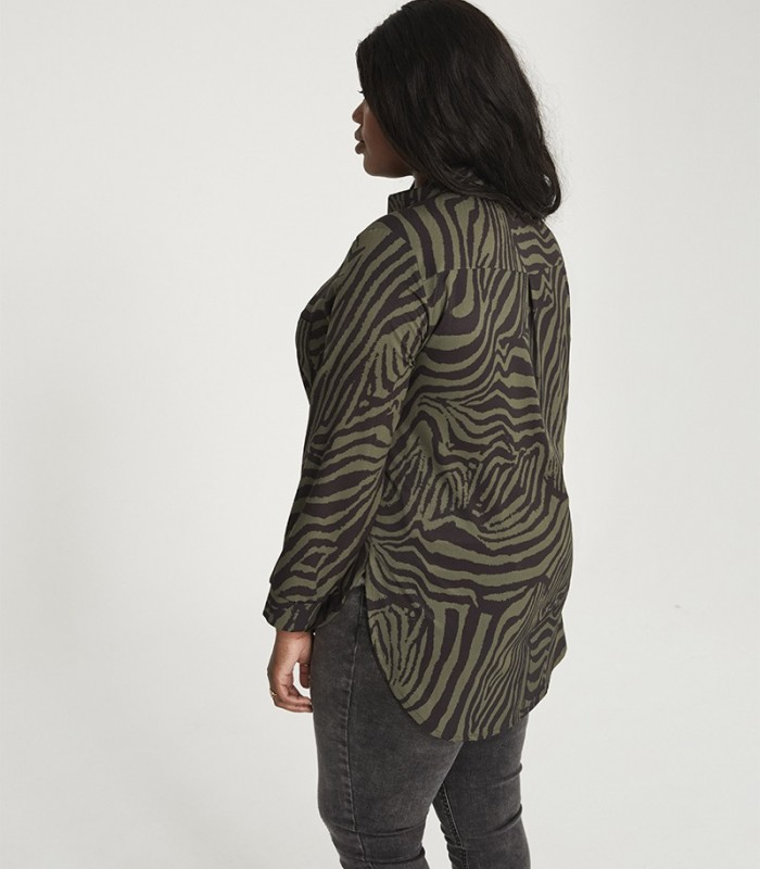 Zebra print shirt with lapel collar
