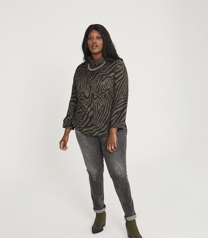 Camisa estampado zebra print cuello solapa