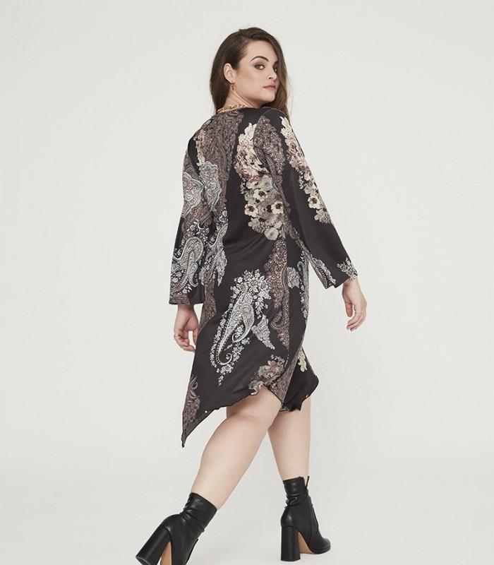 Asymmetric print dress with V-neckline