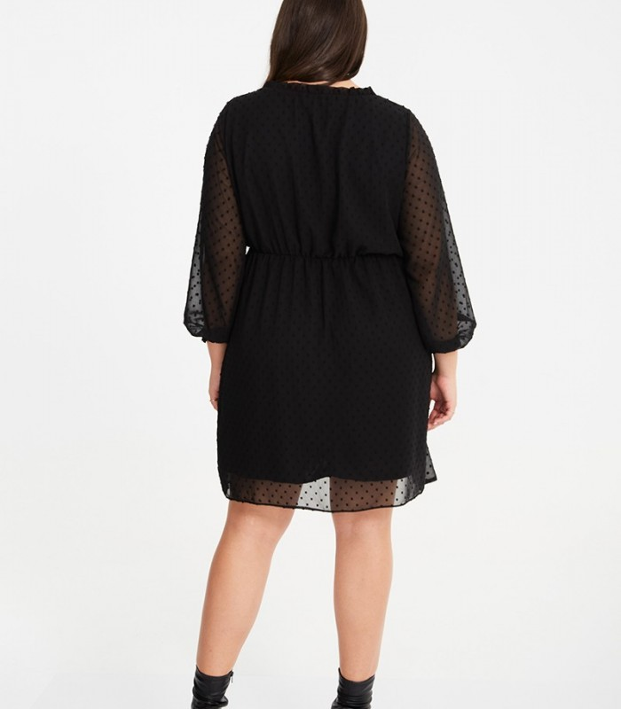 Chiffon plumetti dress with round neckline and fine bow