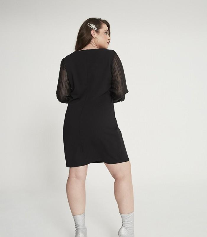 Vestido negro con escote redondo y manga de gasa brillante abullonada