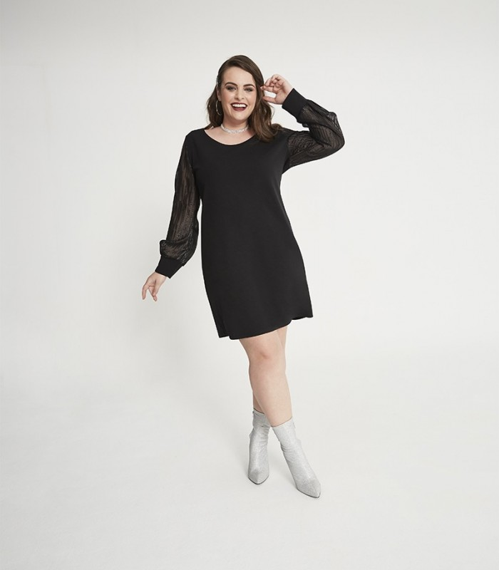 Black dress with scoop neckline and puffed sparkly chiffon sleeves
