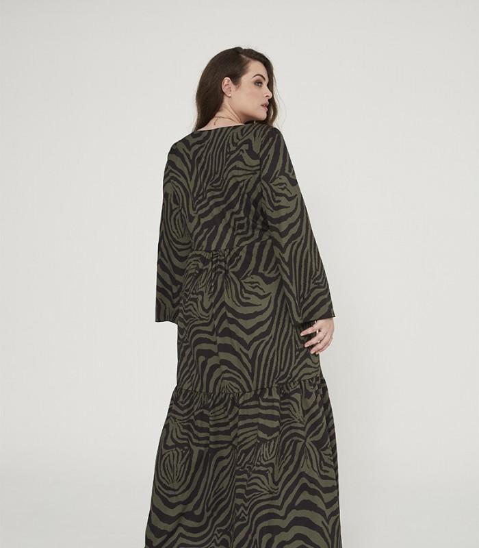 Vestido largo con estampado zebra print y escote en pico
