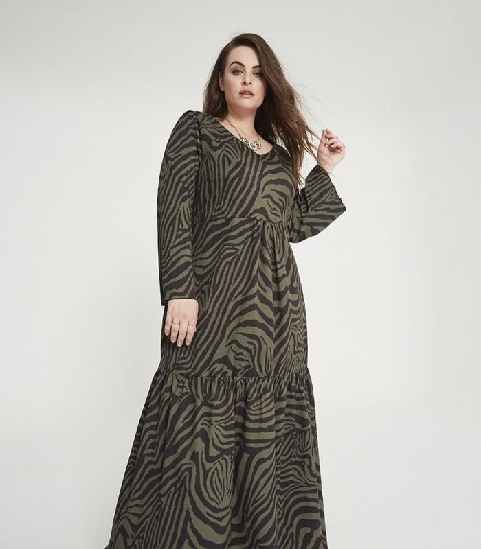Long dress with zebra print and V-neckline