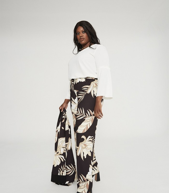 High-rise straight-leg trousers with floral print