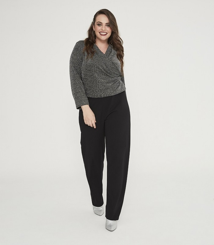 Jumpsuit with shiny crossover top and plain trousers