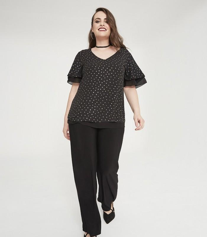 Shiny polka dot print blouse with flare sleeves